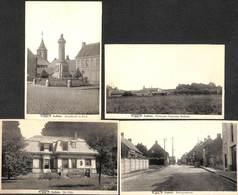 Aalbeke - Lot Of 4 Kaarten (panorama, Villa, Rollegemstraat, Standbeeld En Kerk) - Kortrijk