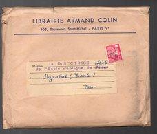 Paris 5e :bd St Michel :catalogue 1957 ARMAND COLIN Librairie Sous Enveloppe Avec Préoblitéré YT 111 COQ 12F (PPP10095) - Advertising
