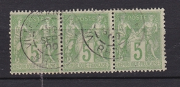 FRANCE Timbre Types Sage N/B N° 102°  (bloc De 3 Belle Oblitération VILLEFRANCHE RHONE) - 1876-1898 Sage (Type II)