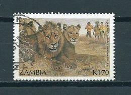 1987 Zambia Lion,leeuw,animals Used/gebruikt/oblitere - Zambia (1965-...)