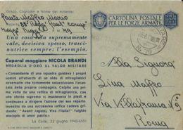 FRANCHIGIA POSTA MILITARE 79 1943 BELGODERE CORSICA X ROMA MEDAGLIA ORO BRANDI - 1900-44 Vittorio Emanuele III