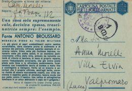 FRANCHIGIA POSTA MILITARE 112 1943 BASTIA CORSICA VALPROMARO MEDAG ORO BROUSSARD - 1900-44 Vittorio Emanuele III