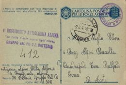FRANCHIGIA POSTA MILITARE 308 1943 CUNEO ALPINI CARAGLIO X TORRE BALFREDO - 1900-44 Victor Emmanuel III