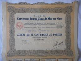 Carrieres Et Fours à CHAUX De MAY Sur ORNE     CALVADOS - Actions & Titres