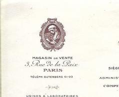 Facture 1921 / PARIS Rue De La Paix / ARYS / Parfums De Luxe - France
