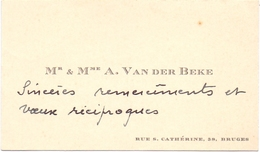 Visitekaartje - Carte Visite - Mr & Mme A. Van Der Beke  - Bruges Brugge - Cartes De Visite