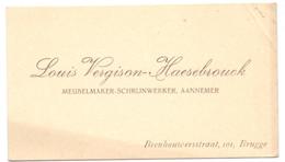 Visitekaartje - Carte Visite - Meubelmaker Louis Vergison - Haesebrouck  - Bruges Brugge - Cartes De Visite