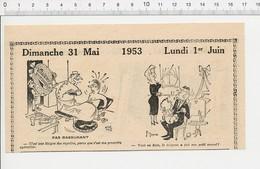 2 Scans 1953 Humour Camping Tente Grue De Chantier Eau Minérale Construction Métallique Rot Bébé Sophie La Girafe ?223XN - Vieux Papiers