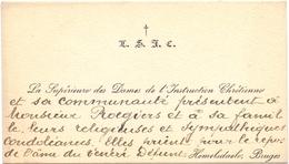 Visitekaartje - Carte Visite - La Supérieure Des Dames L'Instruction Chrétienne - Hemelsdaele  - Bruges Brugge - Cartes De Visite
