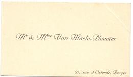 Visitekaartje - Carte Visite - M.& Mme Van Maele - Plouvier - Bruges Brugge - Cartes De Visite