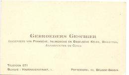 Visitekaartje - Carte Visite - Handelaars Gebroeders Geschier - Bruges Brugge - Cartes De Visite