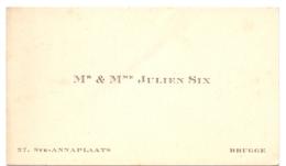 Visitekaartje - Carte Visite - M. & Mme Julien Six - Bruges Brugge - Cartes De Visite