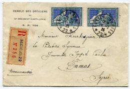 RC 11233 FRANCE N° 214 ARTS DECORATIFS OBL. POSTE AUX ARMÉES 22 TREVES ALLEMAGNE POUR DAMAS SYRIE LETTRE RECOMMANDÉE TB - 1921-1960: Periodo Moderno