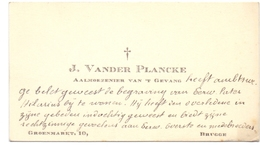 Visitekaartje - Carte Visite - Aalmoezenier Van 't Gevang J. Vander Plancke - Brugge - Cartes De Visite