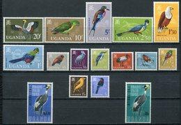 1965/7  - UGANDA  - FLOWERS-BIRDS- LOT-2  SETS  - 14 + 2 VAL. M.N.H.- LUXE ! ! - Uganda (1962-...)