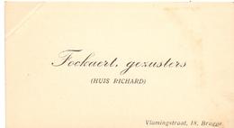 Visitekaartje - Carte Visite - Gezusters Fockaert - Huis Richard  - Brugge - Cartes De Visite
