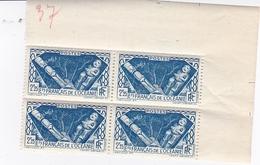 ETABLISSEMENTS DE L'OCEANIE 1939 /1949 DIVINITES INDIGENES N° 115   2F25 BLEU BLOC DE 4 TIMBRES BDF ** - Ungebraucht