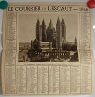 Calendrier. 9. Le Courrier De L'Escaut 1946. Photo De La Cathédrale De Tournai - Calendriers