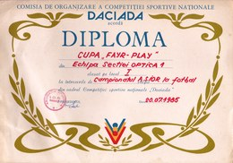 Romania, 1985, Communist Propaganda Diploma - Football / Soccer, RSR - Diplômes & Bulletins Scolaires