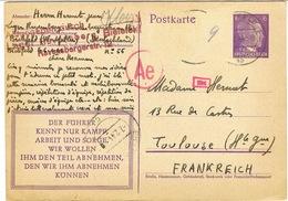 ENTIER ALLEMAGNE TRAVAILLEUR STO BIELEFELD FEVRIER 44 - Postmark Collection (Covers)