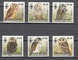 Mauritania 2002,6V In Set,owls,uilen,eule,birds,vogels,vögel,oiseaux,pajaros,uccelli,aves,MNH/Postfris(A3644) - Hiboux & Chouettes
