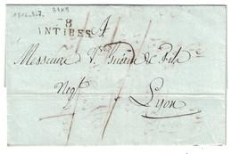 """1816 - MARQUE POSTALE MP """" 78 ANTIBES """" (ALPES MARITIMES) Sur LETTRE LSC En PORT PAYÉ Pour LYON - Marcophilie (Lettres)"""