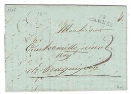 """1810 - MARQUE POSTALE MP """" 78 CANNES """" (ALPES MARITIMES) Sur LETTRE LAC En PORT PAYÉ Pour DRAGUIGNAN VAR - Marcophilie (Lettres)"""