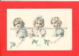Dessin De Trois Enfants Tenant Du Houx  Cpa Animée  1973 K F - Dessins D'enfants