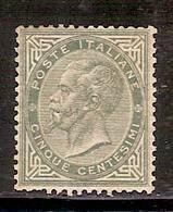 (Fb).Regno.V.E.II.1863.-5c Verde Grigio,nuovo Con Traccia Di Linguella,ben Centrato (422-16) - 1861-78 Victor Emmanuel II
