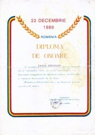 Romania, 1990, Vintage Honor Diploma - Participation In The 1989 Revolution - Diploma's En Schoolrapporten