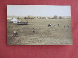 RPPC Open Field With Net & Tent        Ref 3125 - Postcards