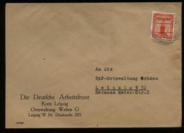 WW II NSDAP Dienstpost Brief DAF: Gebraucht Leipzig 1944 , Bedarfserhaltung. - Deutschland