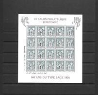 F5094 5094  **  Y & T 140 Ans Du Type Sage 70e Salon Philatélique D'automne 26/47 - Ungebraucht