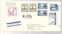 Impressive Franking 1963 Lee Sui Ching Manila > Robert Sperring Trenton USA & Letter Fencing (78) - Filippijnen