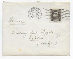 BELGIQUE - 1926 - 1F SEUL SUR LETTRE PETIT FORMAT De CHARLEROY => EGLETONS (CORREZE) - Belgique