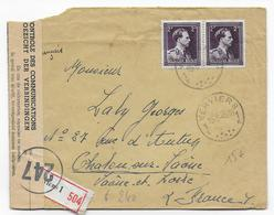 """BELGIQUE - 1945 - ENVELOPPE RECOMMANDEE Avec CENSURE """"CONTROLE DES COMMUNICATIONS"""" De VERVIERS => CHALON SUR SAONE - Lettres"""