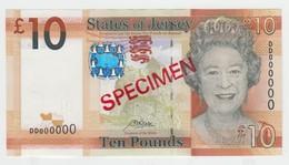 Jersey Banknote Ten Pound Code DD, L Rowley Specimen Overprint Superb UNC Condition - Jersey