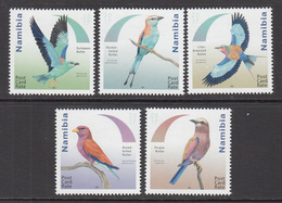 2017  Namibia Roller Birds Oiseaux Complete Set Of 5 MNH - Namibie (1990- ...)