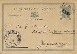 Hongkong Postal Stationery Entier Postal P. Used January 1896 To Marienwerder Kwidzyn Poland - China (Hong Kong)