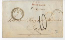 ETATS SARDES - 1855 - LETTRE De BERGAMO => LYON Avec MARQUE SARDE - Sardaigne