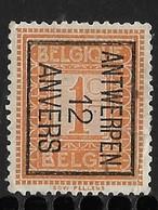 Antwerpen 1912 Typo Nr. 28Bzz - Typo Precancels 1912-14 (Lion)