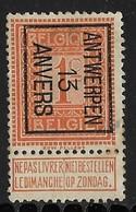 Antwerpen 1913 Typo Nr. 36B - Vorfrankiert