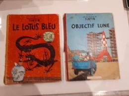TINTIN LE LOTUS BLEU-1956-B15-ETAT MOYEN + OBJECTIF LUNE B15 1955-ETAT MOYEN - Tintin