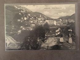 CORSE CPA CORTE VUE GENERALE ANIMEE AVEC MARCHANDES - Autres Communes