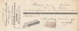 Lettre Change 12/12/1913 C BERGER Fabrique D'  Absinthe Couvet Suisse Reçu Marseille - Lettres De Change