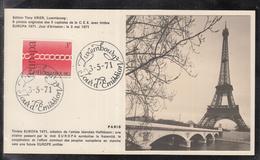 Éditions Tony Krier Luxembourg 1971 - EUROPE CEPT CAPITALE DE LA C.E.E. PARIS Tour Eiffel - Maximum Cards