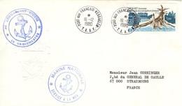 TAAF FSAT 77 Et 84 Enveloppe Marine Nationale Cachet Port-aux-Français 1980 Srevice à La Mer Commandant Rivière Polar - Colecciones & Series