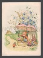 093590 GNOME Elf W/ Lady-Bird SELLER By BAUMGARTEN Vintage PC - Fairy Tales, Popular Stories & Legends
