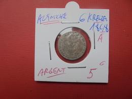 """AUTRICHE 6 KREUZER ARGENT 1848 """"A"""" - Autriche"""