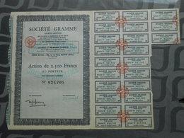 Société GRAMME - Action De 2500 Francs Au Porteur - G - I